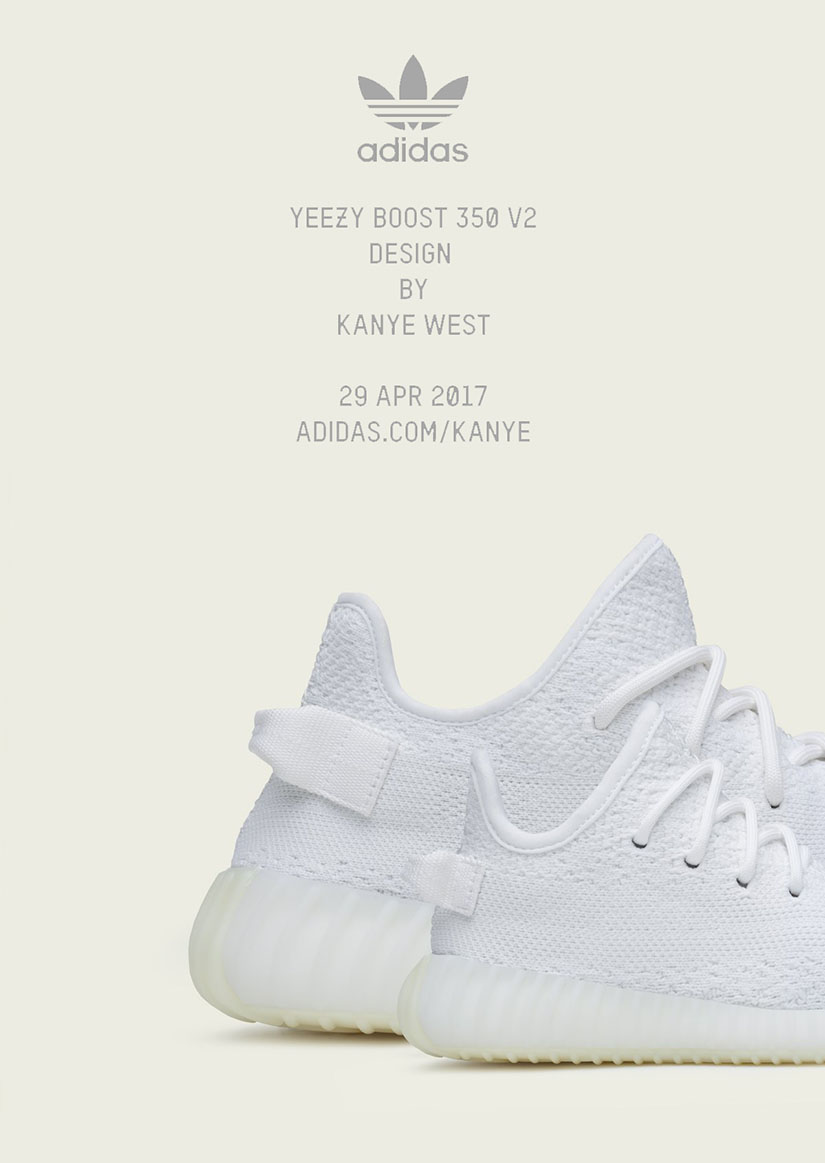KANYE WEST and adidas announce the YEEZY BOOST 350 Cream White, releasing  globally on April 29th, 2017 in adult and infant sizing.
