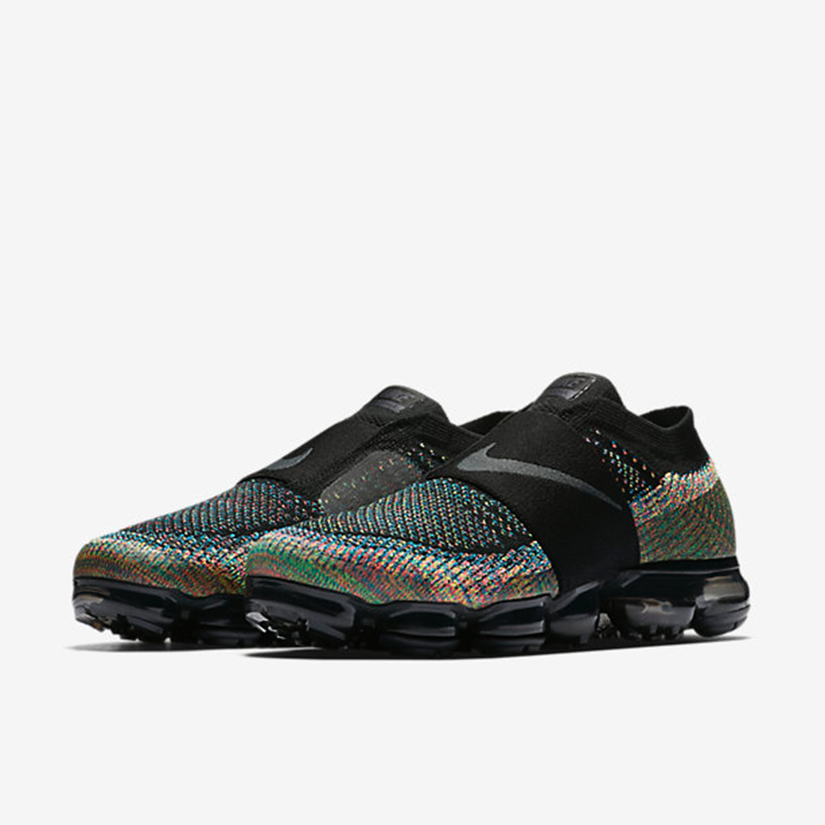 "09202d9242 Another great colorway of the laceless Nike Air VaporMax Flyknit Moc. Known  as the ""Multi-Color"" edition, they come in black, dark grey, volt and hot  punch."